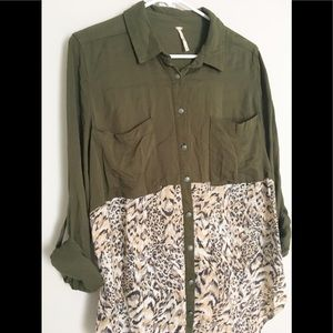 Free People buttondown olive green animal print